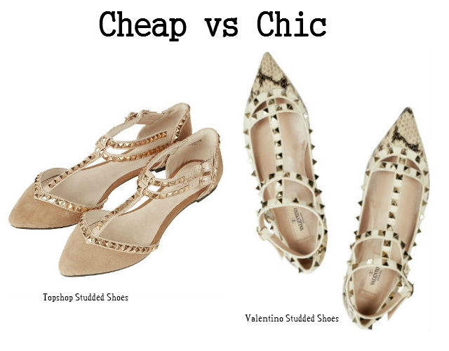 cheap vs chic studded shoes