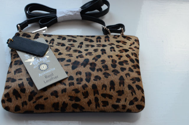 accessorize leather leopard print bag